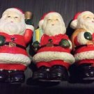 Christmas Figurine Ceramic Handpainted Lot of 3 Santa Claus Bell Bag Gift