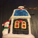 Christmas Ornament Ceramic Handpainted House with Snow Snowman