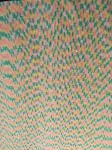 "Vintage Crocheted Afghan 65"" X 70""Baby Colors Giant Handmade Green Yellow Pink"