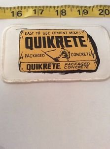 Vintage Patch Quickrete Concrete Vendor White Yellow Black Rockabilly Americana