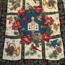 Christmas Church Tapestry Throw Blanket Fringe 46x56 Winter Bird Holly Religious