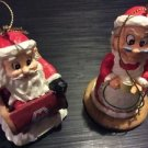 Christmas Ornament Ceramic Handpainted Marathon Santa and Mrs Claus Lot of 2