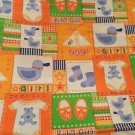 Vintage Baby Girl Fabric Orange Yellow 44x111 Cotton Green Blue White