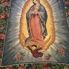 Mary Mother Of Jesus Tapestry Throw Blanket Fringe 46x53 Catholic Roses Religiou