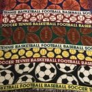 Sports Tapestry Throw Blanket Fringe 44x54 Soccer Tennis Basketball Baseball