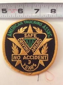 Patch American Trucking Assns Safe Driving Award ATA No Accident 3 Years