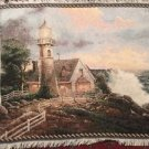 Thomas Kincade Lighthouse Tapestry Throw Blanket Fringe 45x77 USA Flag Ocean