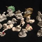 Vintage Unicorn Lot Of 16 Ceramic Heads Laying Raised Bells Kneeling