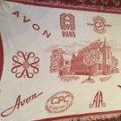 California Perfume Company Tapestry Throw Blanket Fringe 46x69 Avon Eureka Red