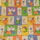 Vintage Baby Fabric Orange Yellow Bunnies 45x115 Cotton Green Purple