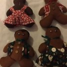 "8"" Christmas Holiday Gingerbread Boy Girl Rag Doll Print Dress Red Green Lot 4"