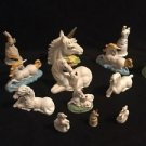 Vintage Unicorn Lot Of 8 Pearlescent Porcelain Pegasus Heads Laying Raised