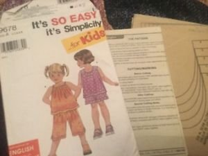 Simplicity For Kids Patterns 9678 Toddler Girls Clothes Top Shorts A 1/2 1 2 3 4