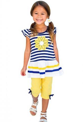 Girls Sunflower Capri Pant set