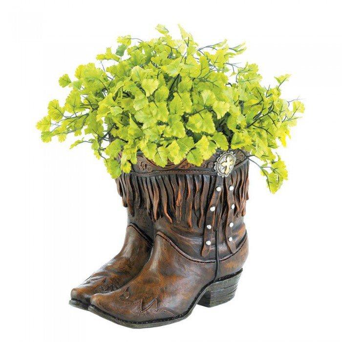 Fringed Cowboy Boot Planter