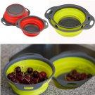 2pcs/set Kitchen Collapsible Silicone Colander Fruit Vegetable Strainer