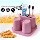 Creative Wheat Straw Tooth Brush Holder Cup Wash Gargle Bathroom Set For Lovers