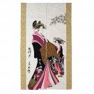 Japan Heavyweight Ukiyoe Noren Tapestry Beautiful Woman Shizuka
