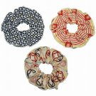 Hamamonyo Tenugui Hair Scrunchie Set of 3(Shippo Patterns Plum Himeshippo)