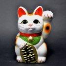Tokoname Ware Maneki Neko 6.3'' White Maneki Neko Left Hand