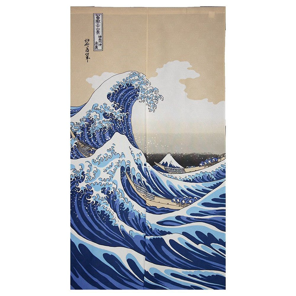 Noren Curtain Tapestry Ukiyoe Hokusai The Great Wave Kanagawa