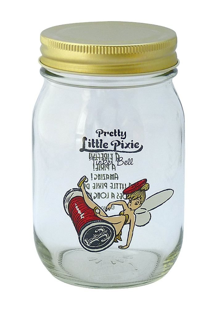 Walt Disney Tinkerbell Glass Jar with Tin Plate Lid Maebata