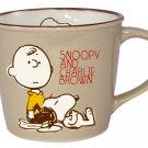 Snoopy Peanuts Vintage Design Mug Cup Brown PT-1301 Made in Japan