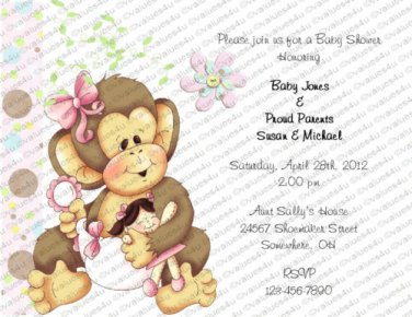 Personalized Baby Shower Invitations Monkey (babygirl2016))
