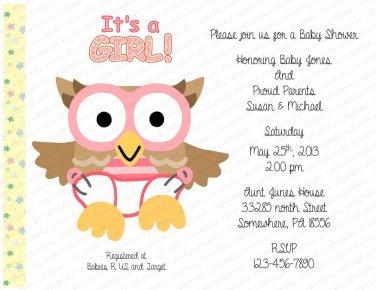 Baby Owl Personalized Flat Baby Shower Invitation (babygirl2192)