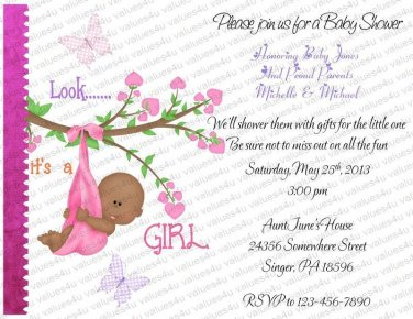 Personalized Flat Baby Shower Invitations (babygirl2204)