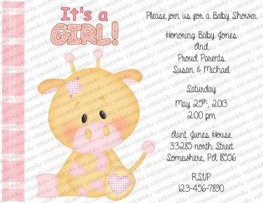 Baby Personalized Flat Baby Shower Invitation (babygirl2200)