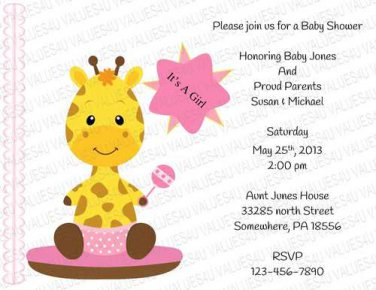 Baby Shower Flat Invitation (babygirl2243)
