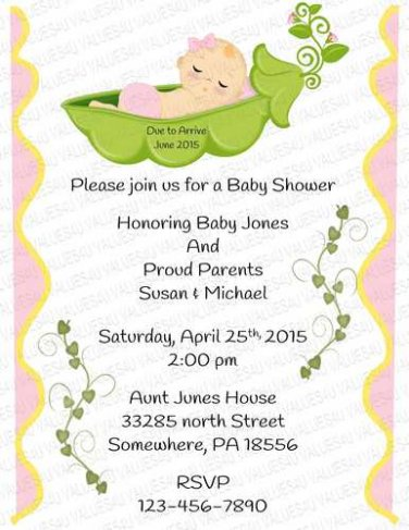 Personalized Baby Shower Flat Invitation (babygirl2251)