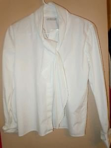 Womens Liz Caiborne white button front long sleeve blouse top shirt size 4 Petit