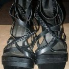 Women's SBICCA of California size 7 1/2 strappy zip back black leather sandals