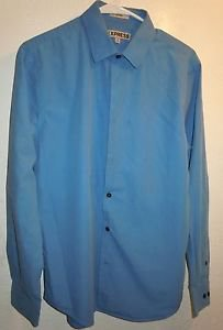 Mens Blue Express button front dress shirt Size M 15-15 1/2