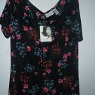 Jaclyn Smyth Classic Summer Slinky top blouse shirt size L NWT black floral