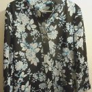 Womens Foxcroft fitted button front blue/black/white size 16 wrinkle free NWOT