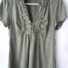 Juniors Womens Heart Soul Khaki Army Green blouse size L