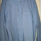 Michael Kors regular fit blue long sleeve striped mens dress shirt size L