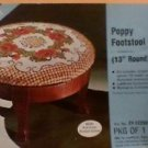 "Vintage Lee Wards Needlepoint Poppy Footstool Cover 13"" round 1976 needle crafts"