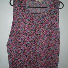 Womens C'EST DOI snap front sleeveless black floral blouse Plus size 3XL NWT