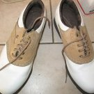 Womens Footjoy golf shoes size 7.5 white brown Softjoys soft cleat
