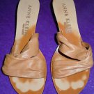 Women's Anne Klein beige tan slip on heels sandals leather size 8.5