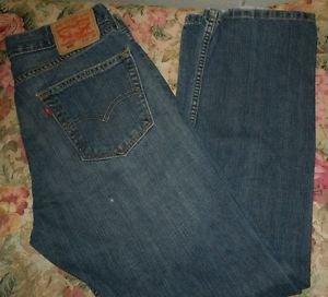 Levis 505 size 32x30 mens blue dark stonewash jeans regular fit straight leg