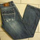 Men's London Bridge distressed medium wash white double stitching jeans size 32
