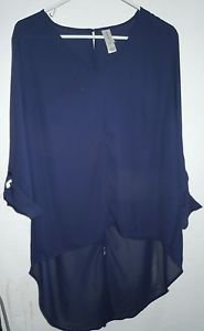 Plus size Womens Pure Energy Navy Blue Sheer Hi-Lo Blouse Top Size X (14W)