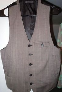 Mens Foreign Exchange Vest Size Small Grey/Brown