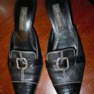 "Brighton black leather ""Precia"" slip on heels shoes size 8 made in Italy"