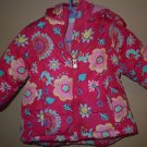Infant girls pink with multi-color flowers puffy jacket with hood size 18mo